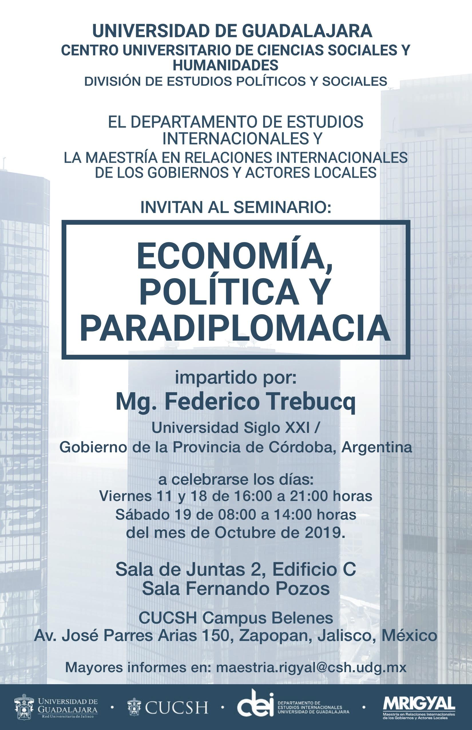 Cartel para anunciar Seminario Economía Política y Paradiplomacia