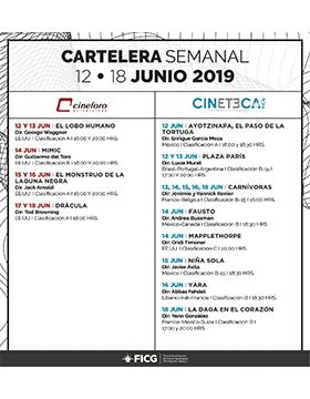 Folleto informativo de la Cartelera de la Cineteca y Cineforo. A llevarse a cabo del 12 al 18 de junio en las diferentes sedes