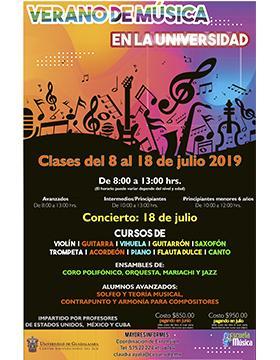 Folleto informativo del Verano de música en la Universidad con profesores de México, Cuba y Estados Unidos. Clases del 8 al 18 de julio , de 8:00 a 13:00 horas (el horario depende del nivel y edad), en el Centro Universitario del Sur (CUSur)