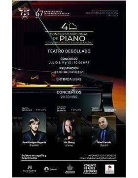 """Cartel informativo del Cuarto Concurso Nacional de Piano """"Universidad de Guadalajara"""". A desarrollarse del 8 al 10 de julio a las 10:00 horas. Premiación 10 de julio a las 14:00 horas, en el Teatro Degollado"""