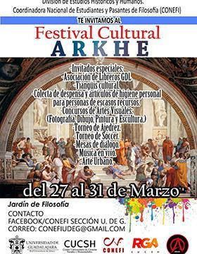 Cartel con lugar y fecha del Festival Cultural ARKHE