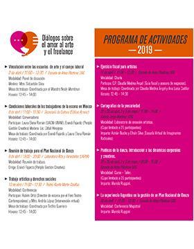 Cartel informativo del Ciclo de conferencias: Diálogos sobre el amor al arte y el freelance. A realizarse el  2, 8, 10, 11, 29 y 30 de abril, y 1, 2 y 3 de mayo. Consulte las distintas sedes