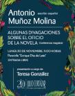 Cartel con información del evento, con fondo azul y en los margenes flores.