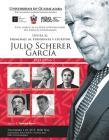 Cartel con la imagen de Julio Scherer García y fotografias de los participantes al homenaje