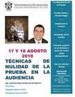 Cartel informativo sobre el Curso-taller Técnicas de la Nulidad de la Prueba en la Audiencia, los días 17 y 18 de agosto en el Centro Universitario del Sur