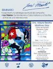 Cartel con texto del evento y dibujo de José Martí con una bandera cubana