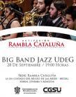 Cartel alusivo y de invitación al Jueves de activación de Rambla Cataluña: con el Big Band Jazz UdeG, a realizarse el 28 de septiembre a las 19:00 horas.