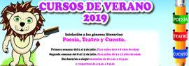 """Cartel informativo de los cursos de verano 2019 en la Biblioteca Iberoamericana """"Octavio Paz"""". A realizarse del 1 al 5 de julio para niños de 6 a 8 años de edad; del 8 al 12 de julio para niños de 9 a 12 años, en horario matutino y vespertino"""