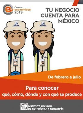 Cartel informativo sobre los Censos económicos 2019. Tu negocio cuenta para México
