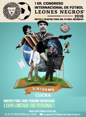 Cartel informativo sobre el Congreso Internacional de Fútbol Leones Negros