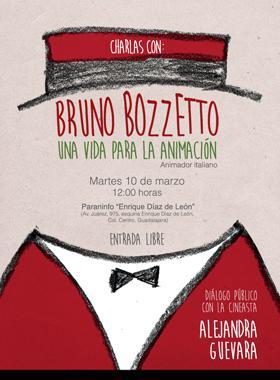 Cartel de la charla con Conferencia con Bruno Bozzetto, animador italiano. 10 de marzo