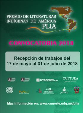 Cartel informativo sobre el Premio de Literaturas Indígenas de América – PLIA 2018