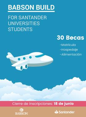 Cartel informativo sobre Babson Build for Santander Universities Students