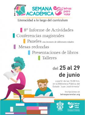 """Cartel informativo sobre la Semana Académica """"Literacidad a lo largo del currículum"""