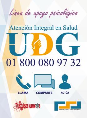 Cartel con texto informativo para dar a conocer la línea de apoyo psicológico UDG 01-800-080-97-32, acorde a programa de atención integral de salud.