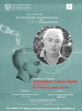 Cartel informativo sobre la Conferencia magistral: Creatividad y cultura digital