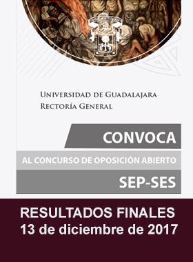 Cartel informativo de los Resultados FINALES del Concurso de Oposición abierto SEP-SES