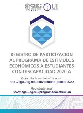 Programa de Estímulos Económicos a Estudiantes con Discapacidad 2020-A