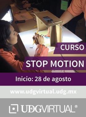 Cartel con texto informativo de invitación al curso de Stop Motion, que inicia el 28 de agosto y se proporciona el enlace de UDGVirtual.