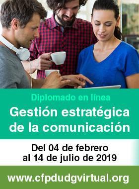 Cartel informativo sobre el diplomado en Gestión Estratégica de la Comunicación