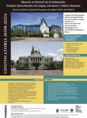 Cartel informativo de la Convocatoria 2019B-2021A de la Maestría en Deutsch als Fremdsprache. Consulte más detalles.