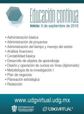 Cursos de Educación contínua de la UDG Virtual