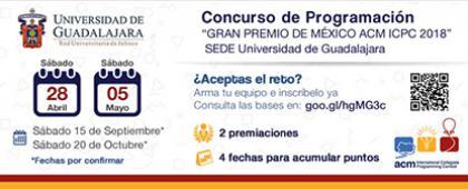 """Cartel informativo y de invitación al Concurso de Programación """"Gran Premio de México ACM ICPC 2018"""". ¡Consulta las fechas y bases de la convocatoria!"""