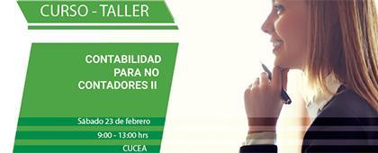 Cartel informativo sobre el Curso-taller: Contabilidad para no contadores II, el 23 de febrero, de 9:00 a 13:00 h.