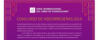 Cartel informativo del Concurso de videorreseñas 2019. Fecha límite de participación 19 de julio. Invitan la Universidad de Guadalajara y la Feria Internacional de Libro