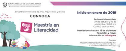 Cartel informativo sobre la convocatoria de la Maestría en Literacidad en el Centro Universitario de Arte, Arquitectura y Diseño sede de Artes