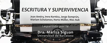 Cartel informativo sobre el Curso: Escritura y supervivencia, el 21 y 22 de noviembre, de 10:00 a 13:00 h. en el Aula 71-I, CUCSH La Normal