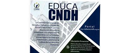 Cartel informativo de la Convocatoria: EDUCA CNDH, pone a disposición del público interesado una amplia oferta educativa. Actividades presenciales y en línea. Todos los cursos son gratuitos, conoce las condiciones de participación