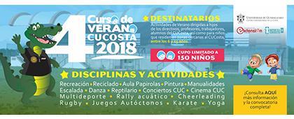 Cartel informativo sobre el Curso de Verano CUCosta 2018, Del 2 al 25 de julio y del 16 al 25 de julio