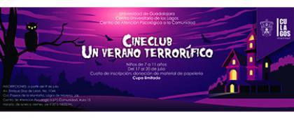 Cartel informativo sobre el Curso de verano: Cineclub, un verano terrorífico