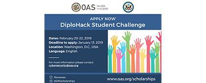 Cartel informativo sobre Diplohack Student Challenge, Del 20 al 22 de febrero,en Washington, D.C. USA