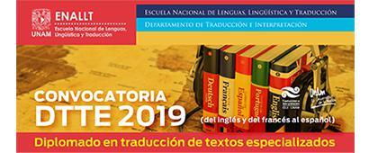 Cartel informativo sobre la convocatoria al Diplomado en traducción de textos especializados