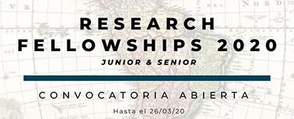 Research Fellowships 2020. Fecha límite de envío de documentos: 26 de marzo.