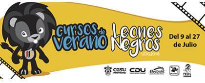 Cartel informativo sobre los Cursos de verano Leones Negros UDG 2018, Del 9 al 27 de julio