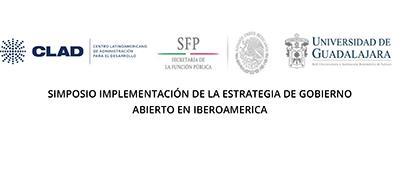 Cartel informativo sobre el Simposio: Implementación de la Estrategia de Gobierno Abierto en Iberoamérica, los días 20 y 21 de agosto en Puerto Vallarta, Jalisco