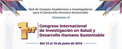 Cartel informativo sobre el 1er. Congreso Internacional de Investigación en Salud y Desarrollo Humano Sustentable