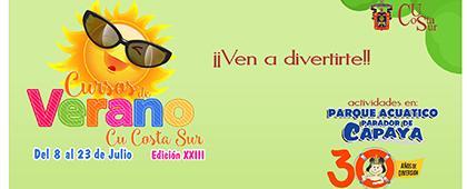 Cartel informativo de los cursos de verano del Centro Universitario de la Costa Sur (CUCSur) edición veintitrés. A realizarse del 8 al 23 de julio