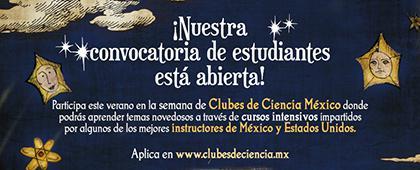 Cartel informativo sobre la convocatoria Clubes de Ciencia Guadalajara: Convocatoria abierta a estudiantes de preparatoria y licenciatura, los día 15 al 21 de julio
