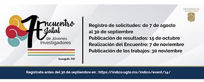 Cartel informativo del Séptimo Encuentro Estatal de Jóvenes Investigadores, fecha límite de registro: 30 de septiembre.