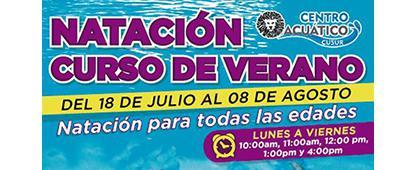 Cartel informativo sobre Natación, curso de verano, Del 18 de julio al 8 de agosto, en el Centro Acuático CUSur