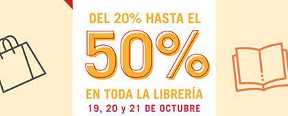 Cartel informativo sobre la Venta especial en la Librería Carlos Fuentes Del 19 al 21 de octubre