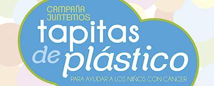 Cartel informativo y de invitación a la campaña: Juntemos tapitas de plástico. Para ayudar a los niños con cáncer. El centro de acopio es de lunes a viernes de 8:00 a 19:00 horas. En el Área médica del Edificio de Rectoría General de la UdeG.