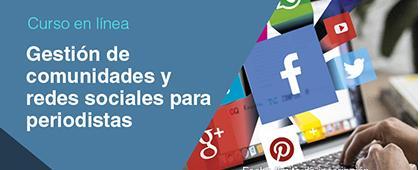 Cartel informativo sobre el Curso en línea: Gestión de comunidades y redes sociales para periodistas