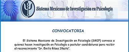 """El Sistema Mexicano de Investigación en Psicología convoca a quienes hacen investigación en Psicología a postular candidaturas para recibir el reconocimiento """"Dr. Emilio Ribes Iñesta"""". Fecha límite de envío de propuestas: 30 de marzo"""