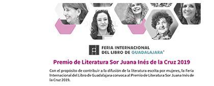 Cartel informativo sobre el Premio de Literatura Sor Juana Inés de la Cruz 2019