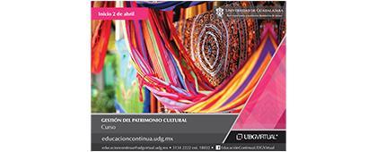 Cartel informativo del curso Gestión del Patrimonio Cultural, curso en línea por UDGVirtual, fecha de inicio 02 de abril.